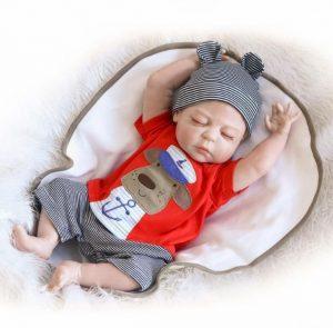 22'' Boy Full body Silicone Reborn Baby Sleeping Doll soft vinyl Lifelike Newborn Image