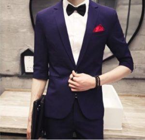 2 PCS Mens Summer Business Coat Wedding Party Suit Full Image