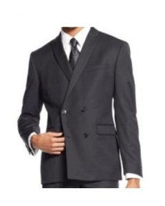 Bar III Slim-Fit Black Double-Breasted Solid Jacket, Black, 38 Short Outfit Image