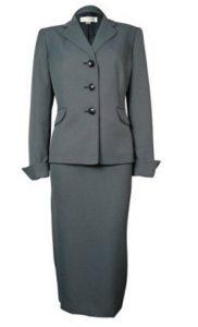 Evan-Picone Navy White Women's Skirt Suit Set Full Image