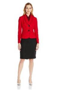Le Suit Women's Petite Two Button Trimmed Collar Jacket Skirt and Scarf Set Image