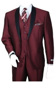 Men's Three Piece Single Button Slim Shine Evening Suit (Dark Burgundy) Image