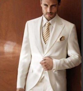 New Lapel Tuxedo Bridegroom Jacket Pants Vest Tie Suit Image