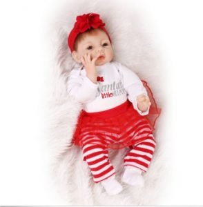 Nicery Reborn Baby Doll Soft Silicone Girl Toy 22in. 55cm Red Santa Dress Image