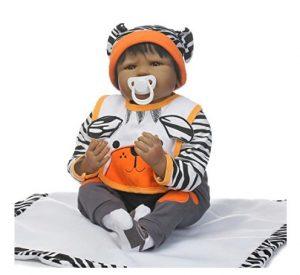Nkol Reborn Dolls African American Lifelike Newborn Realistic Baby Doll Toys, 22inch 55cm Soft Vinyl, Weighted Baby Black Hair